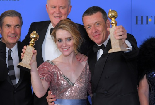 Mandatory Credit: Photo by REX/Shutterstock (7734774ch) The Crown - Best Television Series - Drama - Claire Foy and Peter Morgan 74th Annual Golden Globe Awards, Press Room, Los Angeles, USA - 08 Jan 2017